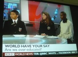 British pupils in the London studio